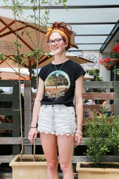 Street Stylin' Kingston: Natasha wears a Splendour in the Grass t-shirt with her summer essential shorts