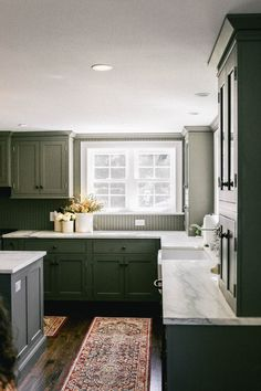 Today, On The Coastal Confidence, A New England Lifestyle Brand, Aubrey Shares The Before & After: Colonial Kitchen Reveal In Partnership With GE Appliances Kitchen Black Counter, Green Kitchen Cabinets, Big Kitchen, Kitchen Cabinetry, Updated Kitchen, Kitchen Colors, Beadboard Backsplash, Fall Home Decor, Colonial Kitchen