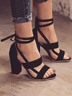 689ba401b2 Fashion Solid Color Chunky Heeled Sandals Heeled Sandals, Strappy Heels,  Shoes Sandals, High