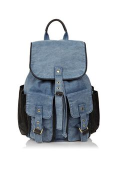 I want this Topshop denim and pu backpack