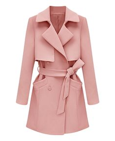 Belted Solid-color Md-long Trench Coat | BlackFive