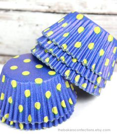 Blue with yellow polka dots, totally cute!