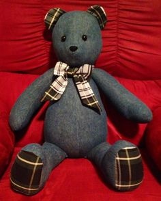 Teddy bear made from grandmas recycle jean capris and grandpa's Ralph Lauren dress shirt stuffed with recycled pillow stuffing. Memory bear.