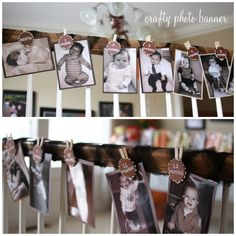 I love this idea of creating a banner of photos, one for each month of your baby's first year! Elle made it gorgeous with adorable tags, tulle and clothes pins!