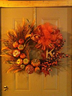 Monogrammed Fall Wreath by AlliRaeCrafts on Etsy, $130.00