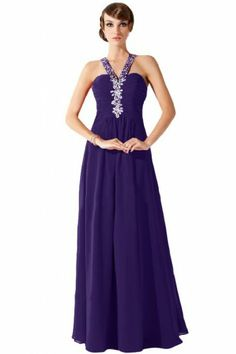 Emma Y V-Neck Chiffon Long Party Evening Dress Bridesmaid Prom Gowns- US Size…