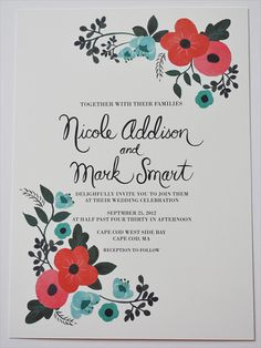 Vintage Floral Wedding Invitation Custom by LOFTLIFEPRESS on Etsy, $260.00 - I like the colors