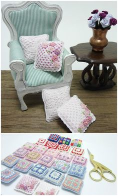 Miniature cushion with little pink flowers for di MiniGio su Etsy