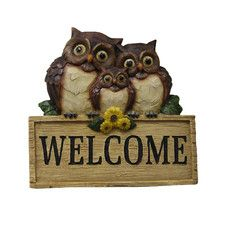 Polyresin Welcome Sign with Owl Family Statue
