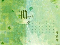 Shamrock March Calendar - wallpapers, Free wallpapers Desktop Themes -- American Greetings