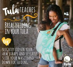 #tulateaches tip: To feed in your Tula Carrier, support your child's weight with one arm to remove tension from the webbing, while adjusting the webbing to the appropriate length. Ideal placement for breastfeeding means that baby's mouth should be at the nipple to ensure a clear airway. You may need to loosen your waist belt slightly to move the carrier lower onto your hips, in addition to slight adjustments to the shoulder straps. Keep in mind that your child will still need to be securely…