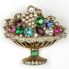 Corocraft Sterling Fruit and Flower Basket Pin