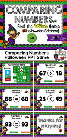 Compare numbers in the the Halloween themed place value game. Students are comparing numbers 0 - 100.