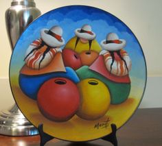 Gossip Women with Vase Handmade oil painting on wooden plate