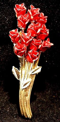 Vintage Enamel Rose Bouquet Brooch Coat Sweater Pin Red Signed DM97