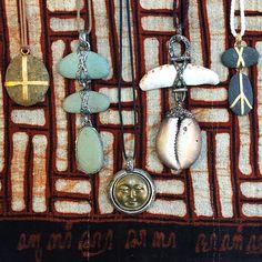 Lou Zeldis pebble, shells and gold on a Lou Zeldis textile Jewelry Design, Designer Jewelry, Custom Shirts, Costume Jewelry, Invitations, Pendant Necklace, Shells, Group, Tees