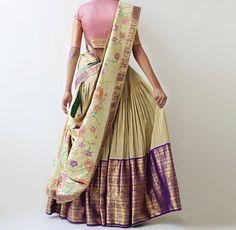 Half Saree Designs, Sari Blouse Designs, Dress Designs, Indian Party Wear, Indian Wear, Indian Dresses, Indian Outfits, Indian Clothes, Saree Draping Styles