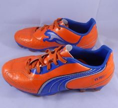 Puma V5.11 Soccer Cleats Spikes Orange & Blue Youth Size 2 Sports Shoes