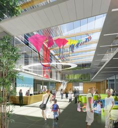 BC Children's and BC Women's Redevelopment Project's architectual concept of the atrium for the proposed Acute Care Centre.  # bcch; BC Children's Hospital; BC Childrens Hospital Family Advisory; patient and family centered care