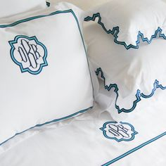 Monogram luxury linens, bed linens & sheeting,bath linens and monogram bath towels,table linens and guest towels embroidered from our wide selection of designs. Monogrammed linens for the bed, bath and table. Blue Bedding, Linen Bedding, Bed Linens, Bedding Sets, Modern Bed Sheets, Monogram Bedding, Monogram Pillowcase, Embroidered Bedding, Bed Linen Design