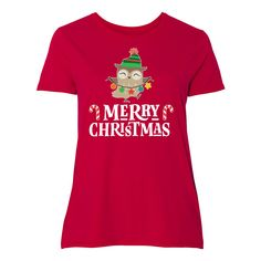 Merry Christmas Owl Holiday Women's Plus Size T-Shirt - Deep Red Christmas Owls, Christmas Gifts For Friends, Merry Christmas, Office Parties, Plus Size T Shirts, Shirt Outfit, Plus Size Women, Holiday, Mens Tops