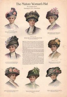 Ladies Tea Party Hats- Make or Buy Victorian Hats 1911 hats for mature Edwardian ladies Tea Hats, Tea Party Hats, Edwardian Era Fashion, Edwardian Style, Edwardian Clothing, Edwardian Dress, Fascinator, Tea Party Outfits, Victorian Hats