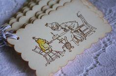 Classic Winnie the Pooh Gift Tag  Happy Birthday Pooh by wkburden, $5.50