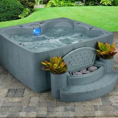 Elite 600 Plug and Play Hot Tub with Ozone and LED Waterfall Freeport Park 6 Person Hot Tub Backyard, Hot Tub Patio On A Budget, Hot Tub Garden, Small Patio, Tubs For Sale, Whirlpool Bathtub, House Design, Outdoor Decor, Outdoor Spaces