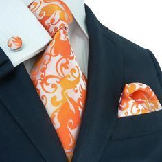 $44.99 | Orange Floral Toramon Silk Tie Set JPM88F – Toramon Necktie Company