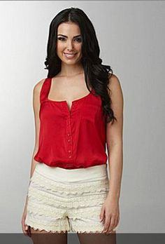 kensie red chiffon top and cream lace shorts