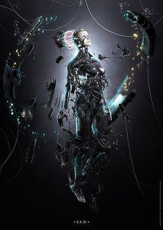 Ascending mechanics. Digital Art by Maxime des Touches