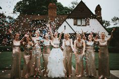 Fun bridesmaid ideas, confetti pictures, gold sequin Badgley Mischka dresses, bridesmaids pictures. Fun bridal party. Wedding in Winston-Salem, NC