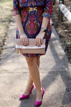 Paisley Print Fall Dress, Fall Fashion, pink pumps