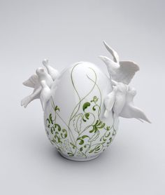 Porcelain Eggs Decorated in Elements of Flora and Fauna by Juliette Clovis