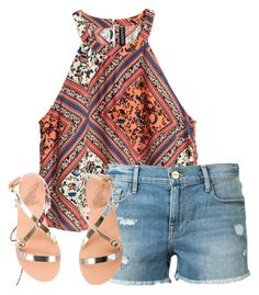""""""""""" by alliquick ❤ liked on Polyvore featuring H&M, Frame Denim and Ancient Greek Sandals"""