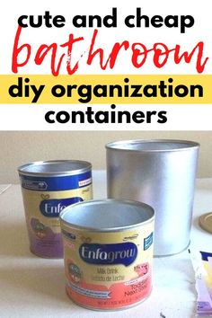 Save your old formula cans for this cute bathroom organization idea. Quickly organize your bathroom counter with this repurposed formula can storage container upgrade with scrapbook paper and mod podge.