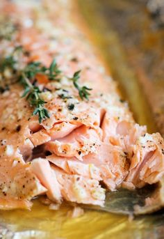 Easy-to-make honey salmon baked in tinfoil with honey, garlic, olive oil, and more!