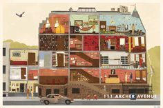 Max Dalton's illustration of 111 Archer Avenue, the house in The Royal Tenenbaums.