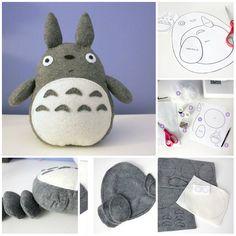 Un Tutorial con le Istruzioni e il Cartamodello da Stampare per fare il pupazzo di Totoro in pannolenci.