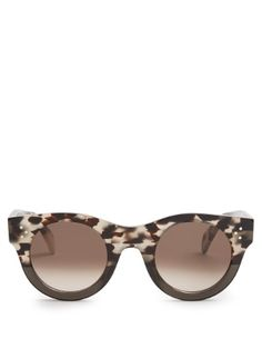 Shop our edit of women's designer Sunglasses from luxury designer brands at MATCHESFASHION Round Frame Sunglasses, Sunglasses Shop, Celine Glasses, Brown And Grey, Eyewear, Luxury, Design, Sunnies, Tortoiseshell Glasses