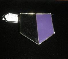 Sale! Purple, Black Shield Pendant, Tie Pin, Brooch, Pin, Brooch Pendant, Enamel Brooch, Vintage Estate Jewelry by NAESBARGAINBASEMENT on Etsy