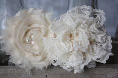 Antique Ivory Chiffon and lace headband or von babybirdieboutique