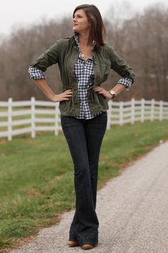 Nice outfit for fall with the jeans, plaid shirt and olive green jacket.