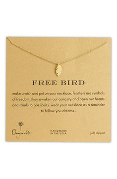 Dogeared 'Reminder - Free Bird' Feather Necklace