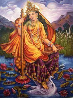 saraswati, hindu goddess of knowledge and arts.