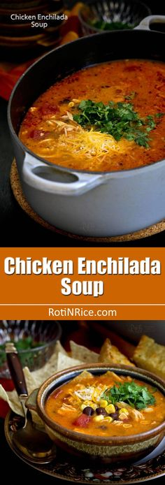 Easy to prepare creamy Chicken Enchilada Soup with shredded chicken, black beans, corn, diced tomatoes, and melted cheese. So comforting and delicious! Chili Recipes, Slow Cooker Recipes, Mexican Food Recipes, Crockpot Recipes, Soup Recipes, Chicken Recipes, Cooking Recipes, Healthy Recipes, Chicken Meals