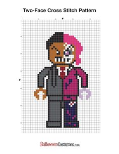 Heads or Tails? | Free Lego Batman Cross Stitch Patterns - Two-Face