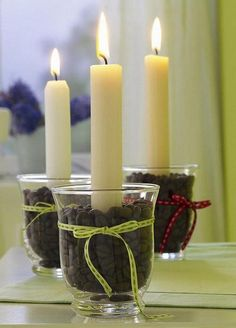 You can use any shape vase. use the square block, then even a shorter candle.the candle heats up the nice candle aroma or can use flavored coffee beans for another idea. Coffee Bean Candle, My Coffee, Coffee Beans, Coffee Aroma, Best Candles, Diy Candles, Pillar Candles, Decorating Candles, Candle In The Wind