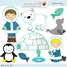 Eskimo Boy Cute Digital Clipart  Commercial Use by JWIllustrations, $5.00