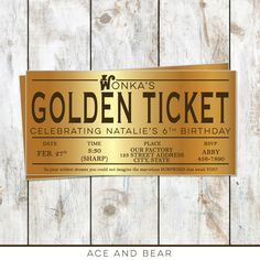 Willy Wonka Birthday Golden Ticket Birthday Invitation - Golden Birthday - Willy Wonka Birthday Party - Golden Ticket Foil Invitation by rocketliv on Etsy https://www.etsy.com/listing/262482778/willy-wonka-birthday-golden-ticket